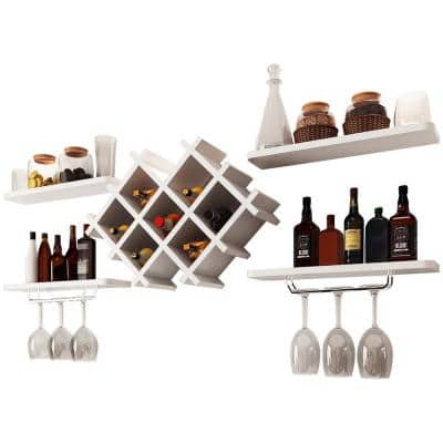 8-Bottle White Wall Mount Wine Rack Set with Storage Shelves