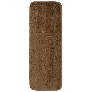 Sweethome Stores Luxury Collection Brown 9 in. x 26 in. Rubber Back Shaggy Stair Tread Cover (Set of 7)