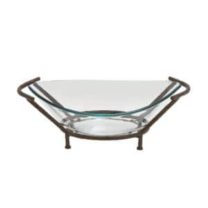 26 in. x 9 in. New Traditional Brown Iron and Glass Bowl Server