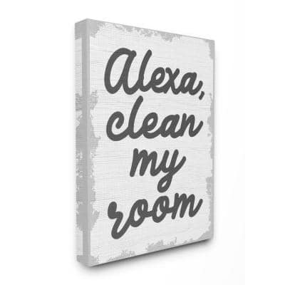"""20 in. x 16 in. """" Abstract Alexa Clean My Room Kids Funny Word Design"""" by Daphne Polselli Canvas Wall Art"""