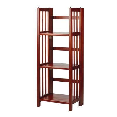 38 in. H Mahogany New Finish Solid Wood 3-Shelf Etagere Folding/Stacking Open Bookcase