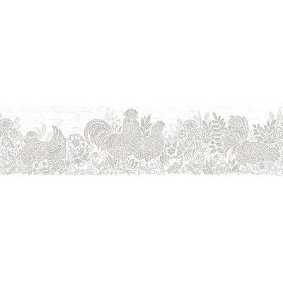 Parton Light Grey Chicken Light Grey Wallpaper Border