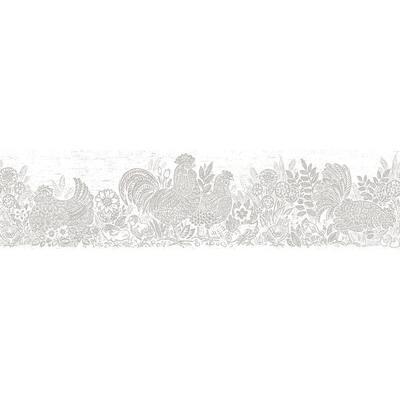 Parton Light Grey Chicken Light Grey Wallpaper Border Sample