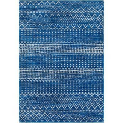 Eurydice Bright Blue 6 ft. 7 in. x 9 ft. Moroccan Area Rug
