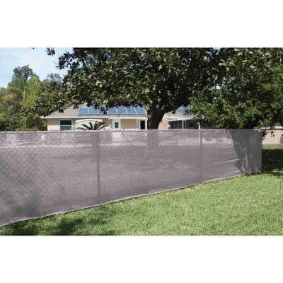 92 in. x 50 ft. Mesh Fabric Privacy Fence Screen with Integrated Button Hole in Grey