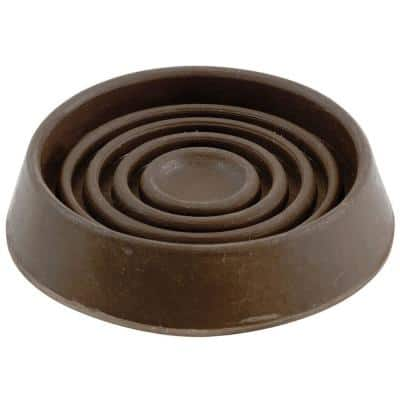 2-1/2 in. Brown Smooth Rubber Round Furniture Cups (4-Pack)