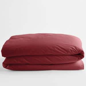 Red Clay Solid Supima Cotton Percale Twin Duvet Cover