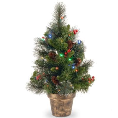 24 in. Crestwood Spruce Tree with Battery Operated Multicolor LED Lights