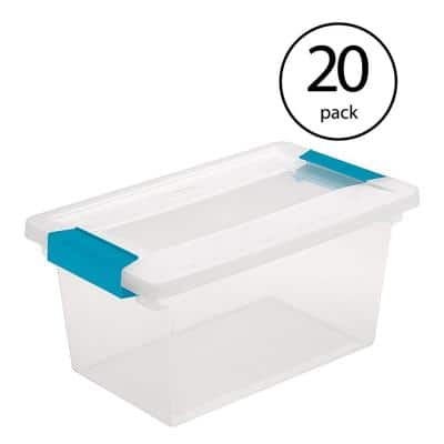 Medium Clip Box Clear Home Storage Tote Container with Lid (20 Pack)