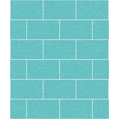 Joan Aqua Tile Vinyl Peelable Wallpaper (Covers 56.4 sq. ft.)