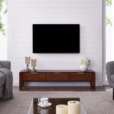 Myers 61 in. Black and Dark Sienna Wood TV Stand Fits TVs Up to 58 in. with Storage Doors