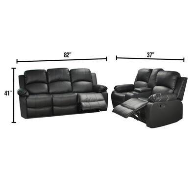 Belle 2-Piece Black Leather Living Room Set
