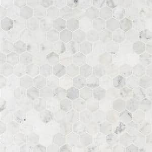 Carrara White Hexagon 11.75 in. x 12 in. x 8 mm Honed Marble Mosaic Tile (9.8 sq. ft. / case)
