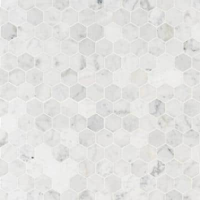 Carrara White Hexagon 11.75 in. x 12 in. x 8mm Honed Marble Mesh-Mounted Mosaic Tile (9.8 sq. ft./Case)