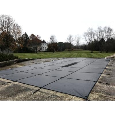 16 ft. x 32 ft. Solid Gray Rectangle Inground Pool Safety Cover
