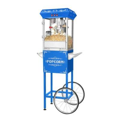 Foundation Series 850-Watt 8 oz. Blue Hot Oil Popcorn Machine with Stand and Cart