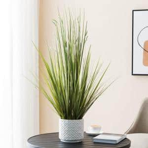 Indoor 34 in. Artificial Sprouted Ornamental Grass in Ceramic Pot