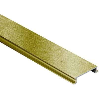 Designline Brushed Brass Anodized Aluminum 1/4 in. x 8 ft. 2-1/2 in. Metal Border Tile Edging Trim