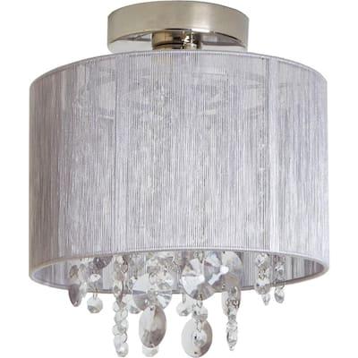 Silvia String Beaded 1-Light Polished Nickel Flush Mount Light