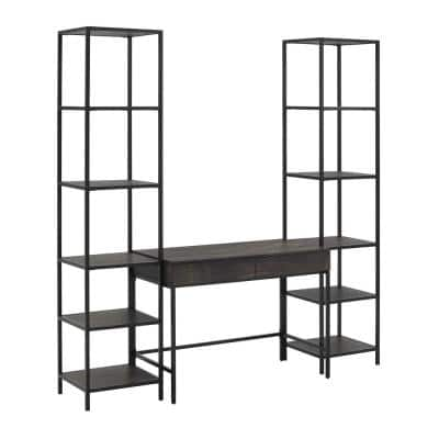 Jacobsen 79 in. 3-Piece Brown Ash Rectangular Writing Desk and Etagere Set