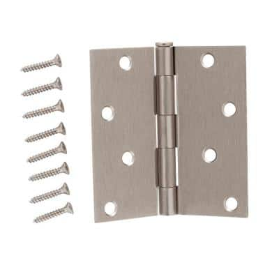 4 in. Satin Nickel Square Corner Door Hinge