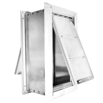 18 in. x 10 in. Large for Walls Endura Flap Pet Door with White Aluminum Frame