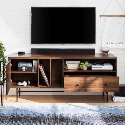 60 in. Dark Walnut Composite TV Stand with 3 Drawer Fits TVs Up to 66 in. with Storage Doors