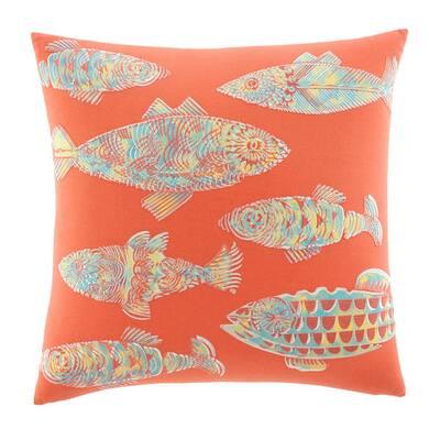 Batic Fish Orange 20 X 20 Cotton Decorative Pillow
