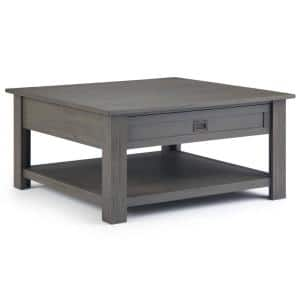 Sullivan 38 in. Gray Medium Square Wood Coffee Table with Drawers