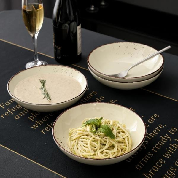 Vancasso 4 Piece Cream Ceramic Dinnerware Set Soup Plates Salad Pasta Bowls Service For 4 Vc Navia 9 Stp The Home Depot