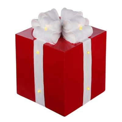 9.5 in. Christmas Red Resin Present Lighted with White Glitter Bow