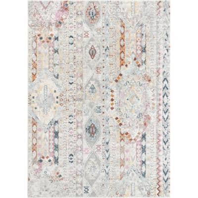 Rodeo Otero Ivory Bohemian Aztec 5 ft. 3 in. x 7 ft. 3 in. Area Rug