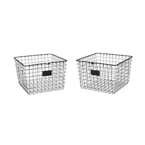 13.75 in. D x 11.25 in. W x 8 in. H Black Medium Steel Wire Storage Bin Basket Organizer (2-Pack)