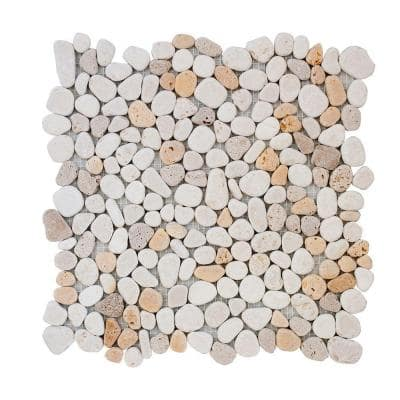 Creama River Rock 11.25 in. x 11.25 in. Honed Marble/ Limestone Floor and Wall Mosaic Tile (.0878 sq. ft./Each)