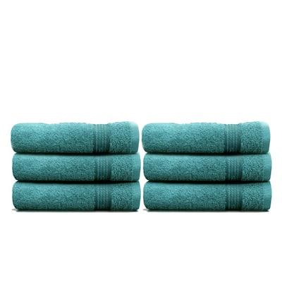 6-Piece Teal Geometric 100% Cotton Hand Towel Set