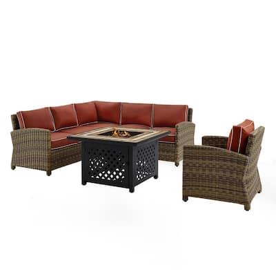 Bradenton 5-Piece Wicker Patio Fire Pit Conversation Set with Sangria Cushions
