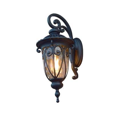 Hailee 1-Light Matte Black Outdoor Wall Lantern Sconce