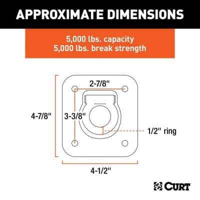 """1-1/2"""" x 1-1/2"""" Recessed Tie-Down Ring (5,000 lbs., Clear Zinc)"""