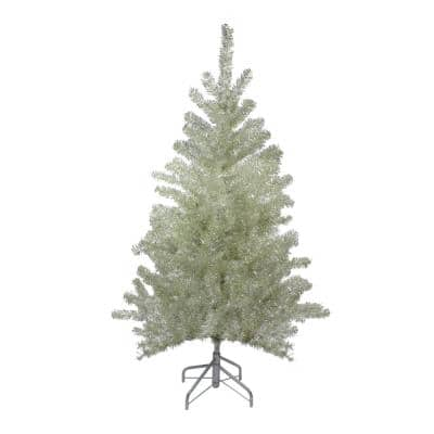 4.5 ft. Unlit Metallic Sheer Champagne Artificial Tinsel Christmas Tree