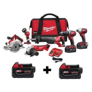 M18 18-Volt Lithium-Ion Cordless Combo Tool Kit (6-Tool) w/ Two Additional 5.0 Ah Batteries