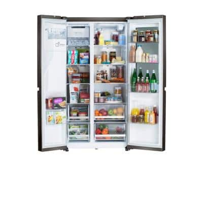 27 cu. ft. Side-by-Side Refrigerator with InstaView, Dual Ice Maker with Craft Ice in PrintProof Black Stainless Steel