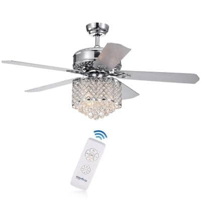 Deidor 5-Blade 52 in. Indoor Chrome Remote Controlled Ceiling Fan with Light KIt