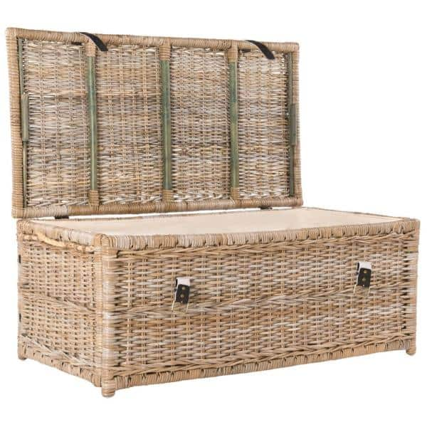 Happimess Caden 46 In Natural Wicker, Wicker Storage Trunks And Chests