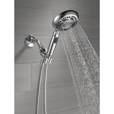 7-Spray 4.8 in. Single Wall Mount Handheld Shower Head in Chrome