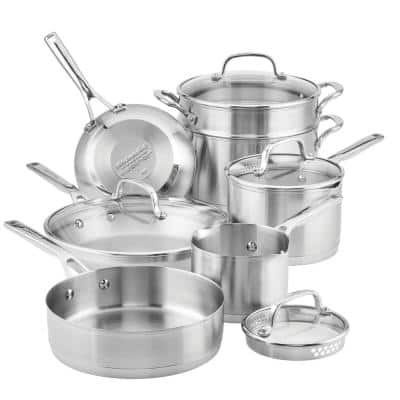 11-Piece Stainless Steel Cookware Set Brushed Stainless Steel