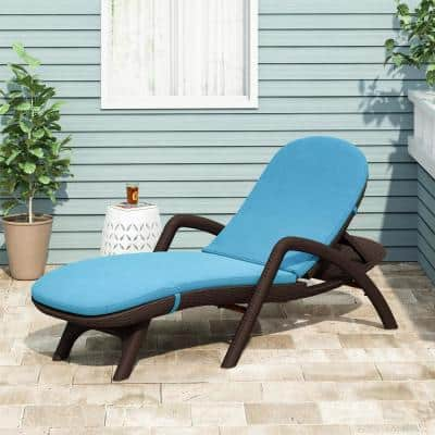 Primrose 28 in. x 36.0 in. Outdoor Chaise Lounge Cushion in Blue