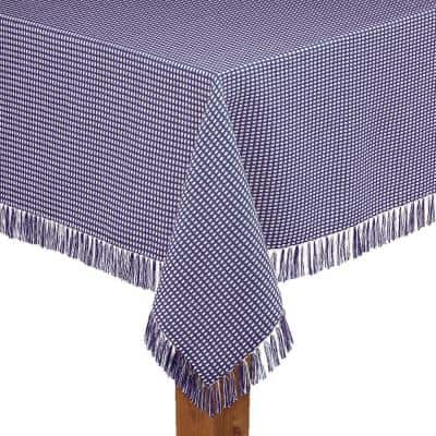 Homespun Fringed 60 in. x 102 in. Marine 100% Cotton Tablecloth