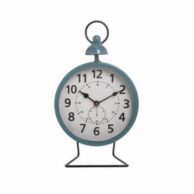 Blue Metal Battery Operated Table Clock
