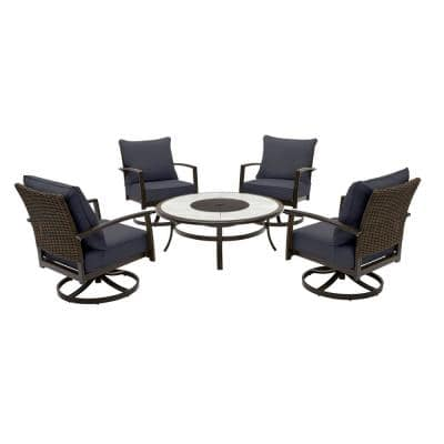 Whitfield 5-Piece Dark Brown Metal Outdoor Patio Round Fire Pit Seating Set w/ CushionGuard Midnight Navy Blue Cushions