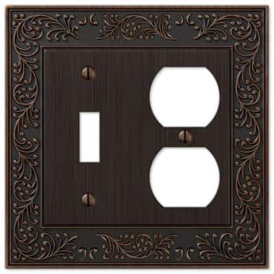 Bleinhem 2 Gang 1-Toggle and 1-Duplex Metal Wall Plate - Aged Bronze